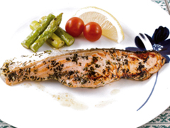 Salmon fried in Herbs