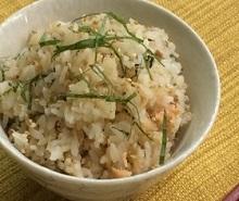 液体塩こうじで鮭と大葉の炊き込みご飯