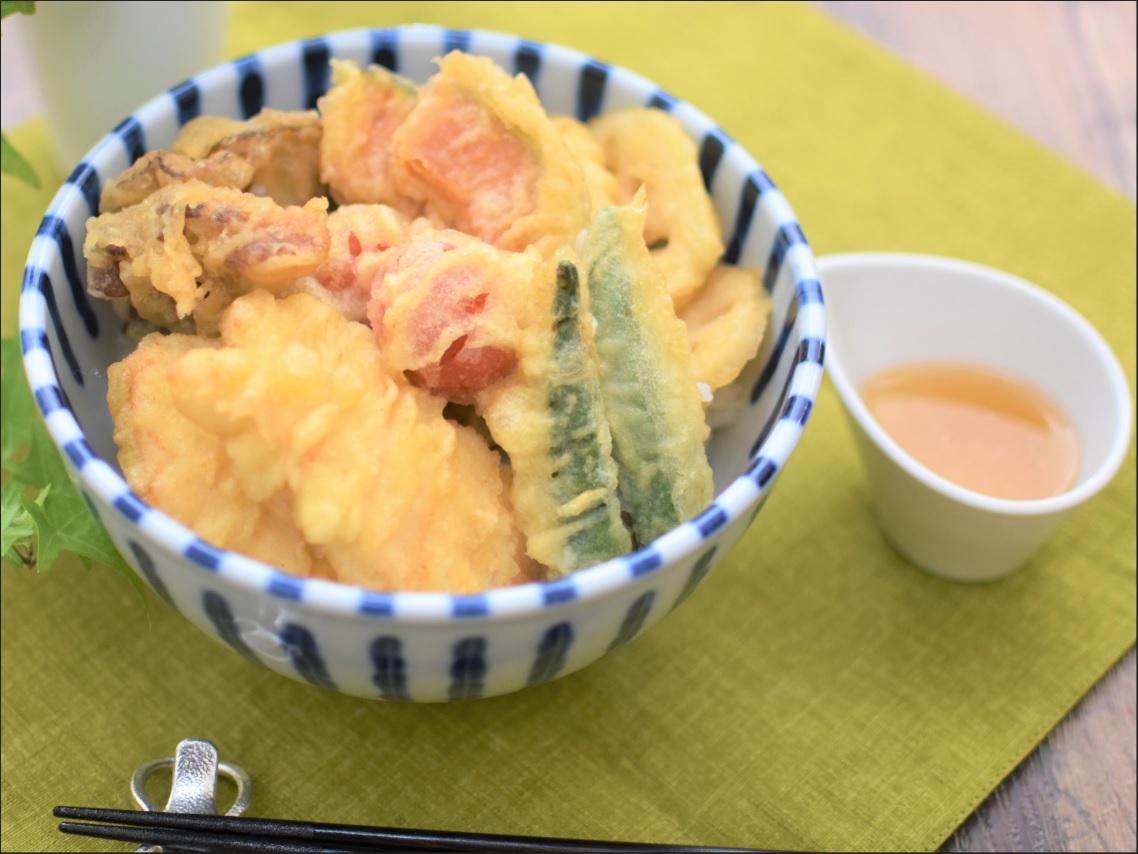 液塩で天つゆ!野菜たっぷり鶏天丼☆