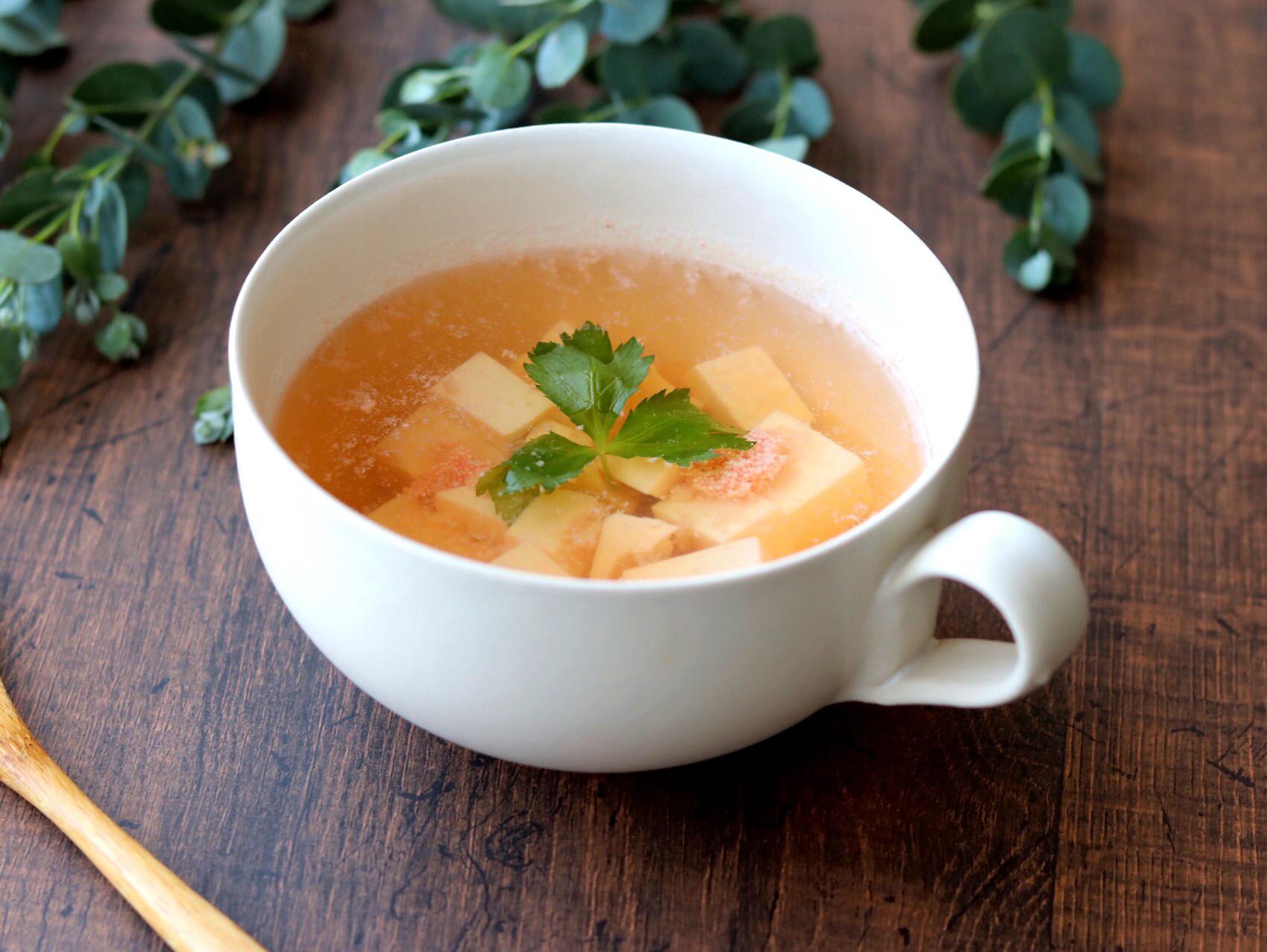 豆腐の明太塩こうじスープ