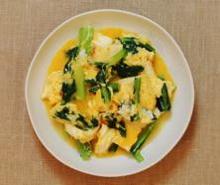 厚揚げと小松菜の塩こうじ卵とじ