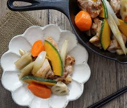 液塩でしっとり☆鶏肉と根菜の甘辛炒め